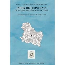 Index des contrats de mariages des études d'Auxerre pour la période 1580-1799