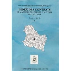 Index des contrats de mariages des études d'Auxerre de 1580-1799 – Tome I