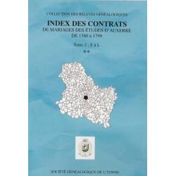 Index des contrats de mariages des études d'Auxerre de 1580-1799 – Tome II