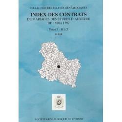 Index des contrats de mariages des études d'Auxerre de 1580-1799 – Tome III