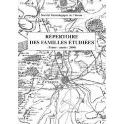 Répertoire 2000 des familles étudiées dans l'Yonne