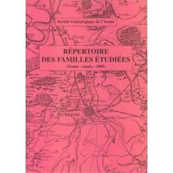 Répertoire 2009 des familles étudiées dans l'Yonne